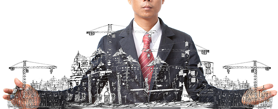 City skyline under construction illustration
