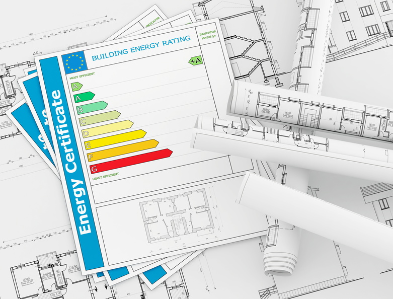 Energy Certificate with rolls of architecture blueprint - rendering
